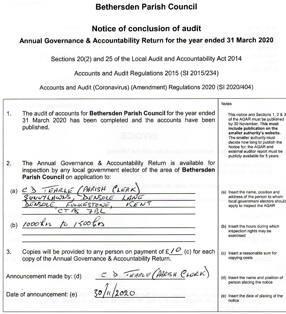 scanned image of the notice of conclusion of audit for Bethersden Parish Council 2020
